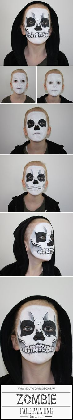 Zombie face painting tutorial for kids - great kids face painting ideas from Mou. - Zombie face painting tutorial for kids – great kids face painting ideas from MouthsofMums - Great Halloween Costumes, Halloween 2017, Halloween Make Up, Halloween Crafts, Costume Ideas, Halloween Recipe, Women Halloween, Scary Halloween, Halloween Nails