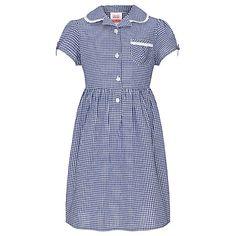 Buy John Lewis Check Print Cotton Summer Dress, Navy Online at johnlewis.com