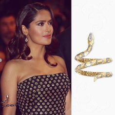 The stunning Salma Hayek-Pinault wore the Adam bracelet in yellow and white gold paved with diamonds. #Boucheron #Cannes2015