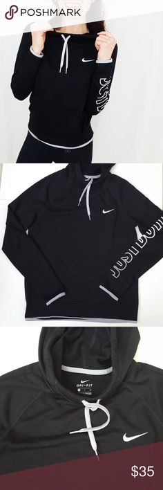 Nike cowl neck hoodie sweatshirt small-E1 Nike cowl neck hoodie size small. Loose fit. Black with white and gray detail. Light pilling in sweatshirt (see 3rd & 4th pics). Used item: pictures show any signs of wear. Inspected for quality. Bundle up! Offers always welcome:)  Shop my husband's closet!: @kirchingeraaron Nike Tops Sweatshirts & Hoodies