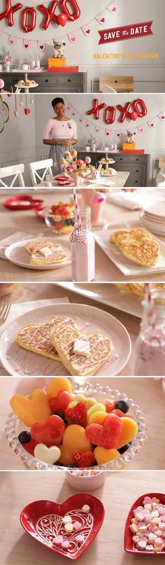 """Hallmark Artist Alyissa Johnson is throwing a cute (and Pinterest-worthy) Valentine's Day brunch on this episode of Save the Date. For décor, she uses a mix of handmade and store bought items to create a light and friendly look. There are little red heart dishes filled with cute candy hearts and a fun, red heart banner with """"XOXO"""" red balloons. Click through for more inspiration and to shop the products featured in this episode!"""