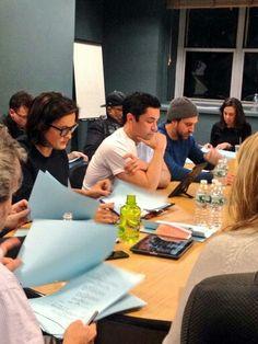 Reading the scripts -Warren Leight, Mariska Hargitay, Danny Pino and Raul Esparza