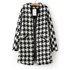 Black Plaid Print Collarless Long Sleeve Wool Coat ❤ liked on Polyvore featuring outerwear, coats, collarless wool coat, plaid coat, tartan coats, collarless coats and woolen coat