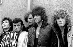 PARK Photo of BON JOVI and Richie SAMBORA and Jon BON JOVI and Alec John SUCH and Tico TORRES and David BRYAN Group portrait backstage at the...