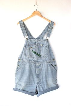 Vintage Striped Denim Overall Shorts - Blue Railroad Stripe Overalls