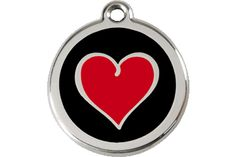 Red and Black Pet ID Tag Charm Pendant Size Small Identification Custom Engraved For Free Stainless Steel Enamel