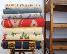 i would love a collection of these mexican blankets!