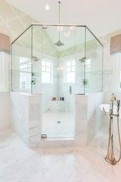 coastal virginia magazine idea house stephen alexander homes shower featuring Daltile First Snow Marble Natural Stone tile Master Shower, Master Bathroom, Master Bath Remodel, Warm Bathroom, Bathroom Showers, Boho Bathroom, Modern Bathroom, Bathroom Layout, Bathroom Interior Design