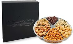 Assorted Nut Tray Gift Platter Box - Kosher - Roasted Salted Cashews, Almonds, Pistachios, Macadamias, Honey Baked Glazed Pecans, Honey Roasted Peanuts, Raw Walnuts - Perfect for Holidays >>> Hurry! Check out this great item : Fresh Groceries