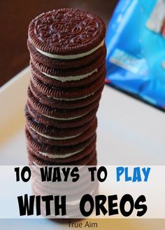 10 Fun Ways to Learn by Playing with OREOs This Summer! by True Aim are fun and educational summer activities for kids. Check out these fabulous 10 Fun Ways to Play with OREOs to learn math, explore STEM, create art, cook with your kids, and just have fun! Who knew there were so many creative and educational things you could do with Oreos? Put them on your next grocery list and get ready for your kids to have some yummy learning fun this summer! Summer Activities For Kids, Science For Kids, Stem Activities, Infant Activities, Summer Kids, Play To Learn, Learn Math, Polaroid Cube, How To Make Cookies
