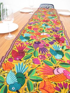 Embroidered Birds Table Runner Mexican Home Decor, Mexican Style, Mexican Folk Art, Mexican Textiles, Mexican Fabric, Mexican Colors, Mexican Pattern, Mexican Embroidery, Embroidered Bird