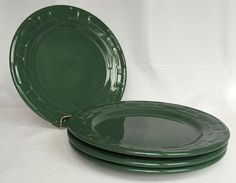 Set 4 Longaberger Ivy Hunter Green Plates Luncheon 9 Inch Woven Traditions Plate #Longaberger #Luncheon