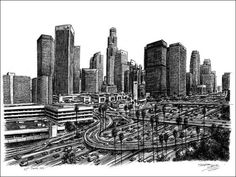 Stephen Wiltshire is an artist who draws detailed cityscapes, skylines and street scenes. Buy the original drawing of Los Angeles Skyline 2007 Amazing Drawings, Realistic Drawings, Amazing Art, Stephen Wiltshire, Cityscape Drawing, Cityscape Art, City Sketch, Sketch Art, Los Angeles Skyline