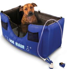 "The Only Inflatable Dog Shower, inflates in five minutes and d folds to only 24"" x 14"" can be purchased from Hammacher for $119.95."