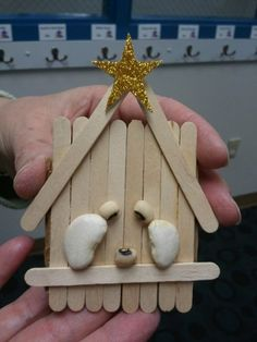 Manger Nativity with craft sticks and beans
