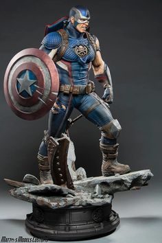Private Custom Captain America Scale Ploystone Statue figure In stock 3d Figures, Custom Action Figures, Anime Figures, Hydra Captain America, Captain Hydra, Hail Hydra, Captain America Statue, Marvel Heroes, Marvel Characters