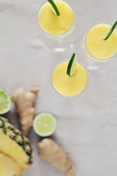 Pineapple Ginger Champagne Cocktail   HelloNatural.co
