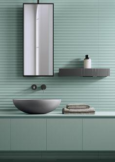BOLD | WHITE - Ceramic tiles from Marca Corona | Architonic 3d Tiles Bathroom, Bathroom Mirrors, Bathroom Ideas, Bathrooms, Wall Cladding Designs, Panneau Mural 3d, Washroom Design, Toilet Wall, Steam Showers Bathroom