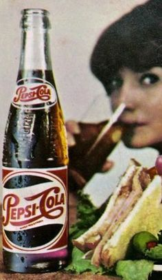 """""""Pepsi for those who think young"""". Old Advertisements, Retro Advertising, Vintage Ads, Vintage Posters, Vintage Photos, Pepsi Cola, Coke, Soda Bottles, Glass Bottles"""