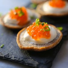 Buckwheat Blinis with Caviar. These buckwheat blini are so elegant and easy to make. Delicious topped with caviar or smoked salmon. One Bite Appetizers, New Year's Eve Appetizers, Appetizer Recipes, Salmon Caviar, Salmon Roe, Brunch, Sugar Donut, Creme Fraiche, Clean Eating Snacks