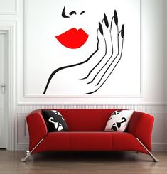 Beautiful Woman Face Red Lips Nails Beauty Salon Wall Decal Nail Salon Wall Decor in 2019 Nail Salon Decor, Beauty Salon Decor, Beauty Salon Interior, Salon Interior Design, Salon Design, Small Beauty Salon Ideas, Hair Salon Names, Nail Room, Painted Floors