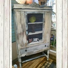 Distressed white and gray cabinet with drawer, $224.99 #cherisheverymoment #upcycled #homedecor