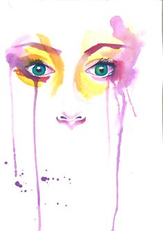 Original watercolor painting abstract portrait of by TearsofColour, $150.00