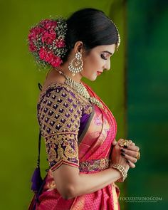 30 South Indian Blouse Designs for a Royal Bridal Look Blouse Back Neck Designs, Hand Work Blouse Design, Stylish Blouse Design, Wedding Saree Blouse Designs, Pattu Saree Blouse Designs, Fancy Blouse Designs, Wedding Sarees, Marathi Wedding, Wedding Dresses
