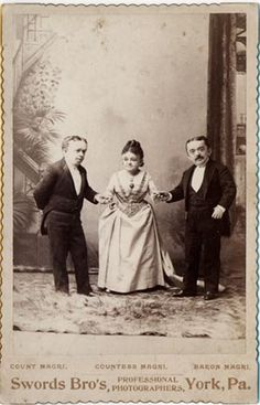 Two years after the death of Tom Thumb in 1883 Lavinia married a younger man. She is seen below with her Italian husband, Count Primo Magri and his brother, Baron Giuseppe Magri.