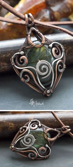 Pagan pendant // Wire wrapped jewelry // Wire wrapped labradorite pagan spiral silver and copper necklace // fantasy necklace