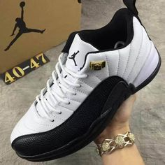 7076c8bb9dd8 Nike Air Jordan XII 12 Retro Low Men Basketball Shoes White Black