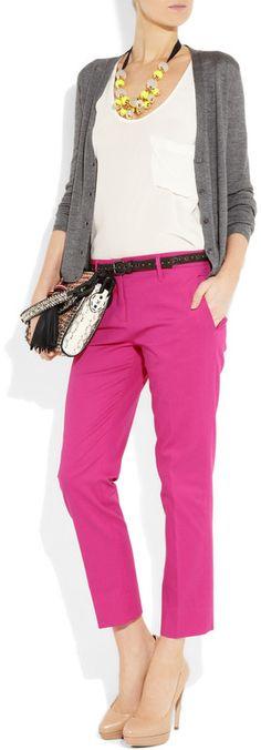 Miu Miu StretchCotton Cropped Pants in Pink (fuchsia)   Lyst