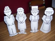 Pilgrim and Native American Toilet Paper Tube Puppets -   Print the puppet pages of your choice.  Color them and cut them out.  Wrap the  strips around a toilet paper tube and tape them in place.  These puppets can  be use to recreate the Thanksgiving story.   - Pinned by @PediaStaff – Please visit http://ht.ly/63sNt for all (hundreds of) our pediatric therapy pins