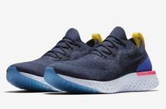 9ddb46fc764b Nike Epic React Flyknit Size 12 White Blue college Navy Mens running Shoes  New