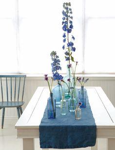 blue flowers, blue bottles, blue runner  { Blueberry Bliss } { Blueberry Bliss } ColorFresh board  http://www.familyfreshcooking.com/2012/04/20/colorfresh-palette-2-blueberry-bliss/