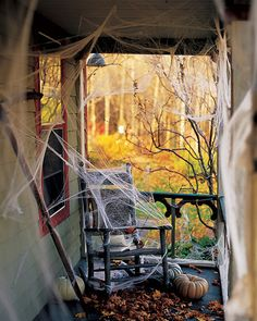 Enter if you dare! Place artificial cobwebs around the house so guests must walk through them to enter the party. Halloween Veranda, Halloween Porch, Halloween Home Decor, Outdoor Halloween, Halloween Party Decor, Halloween Themes, Happy Halloween, Halloween 2017, Halloween Stuff