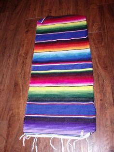New Native Southwestern Mexican Serape Blanket Western Table Runner 15x69 Multi2 | eBay