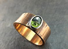 bronze ring peridot structured bronze ring 8mm wide by CrazyAssJD