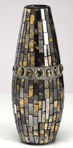 Lovely Small Gold and Brown Mosaic Vase - HP175159 http://www.haysominteriors.com/product/lovely-small-gold-and-brown-mosaic-vase/175159.html