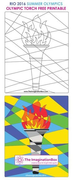 Olympic Games Creative 2016 The Imaginationbox: get in the Rio 2016 Olympic spirit, with this abstract Olympic Torch free printable template. Invite kids to explore colour, shape and pattern Kids Olympics, Rio Olympics 2016, Summer Olympics, Olympic Idea, Rio Olympic Games, Olympic Gymnastics, Olympic Games For Kids, Tumbling Gymnastics, Gymnastics Birthday