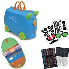 Melissa and Doug Terrence Blue Trunki Ride On Luggage with Matching SaddleBag and Sticker Sets