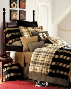 Boys bedding- brown, black, olive, gold