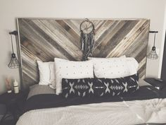 Reclaimed wood headboard by Woodengeometric on Etsy https://www.etsy.com/listing/263489256/reclaimed-wood-headboard