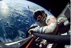 1966: A space selfie, taken by astronaut Edwin E. Aldrin.
