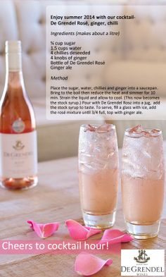 My new favourite cocktail Alcoholic Drinks, Cocktails, Rose Cocktail, Enjoy Summer, Ginger Ale, Bottle, How To Make, Recipes, Blog