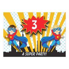 Twins Birthday Party Invitations Twins Superhero Birthday   Boys Brown/Sandy Blonde Card