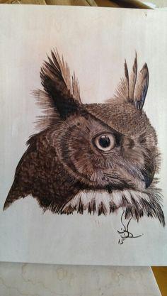 Great Horned Owl, woodburning, pyrography on Basswood