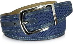 Barth Navy Blue Perforated Nabuk and Leather Belt Mens Braided Belts, Mens Belts For Jeans, Men's Belts, Designer Belt Buckles, Designer Belts, Diy Leather Belt, Casual Belt, Branded Belts, Calvin Klein Men