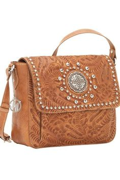 American West Love Me Tender Golden Tan Crossbody Flap Bag