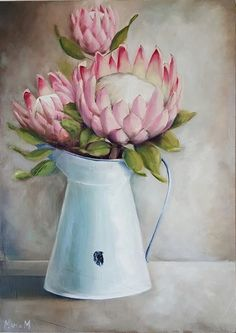 Protea Art, Protea Flower, Watercolor Flowers, Painting Flowers, Cow Art, Fruit Art, Chalkboard Art, Whimsical Art, Landscape Art
